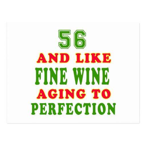 56 y como diseños del cumpleaños del vino fino tarjetas postales