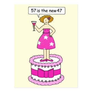 57 es el nuevo humor de 37 cumpleaños para ella tarjetas postales