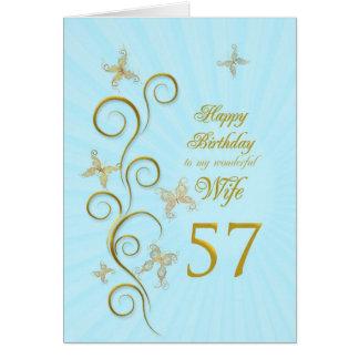 57.o cumpleaños de la esposa con las mariposas de tarjeta de felicitación