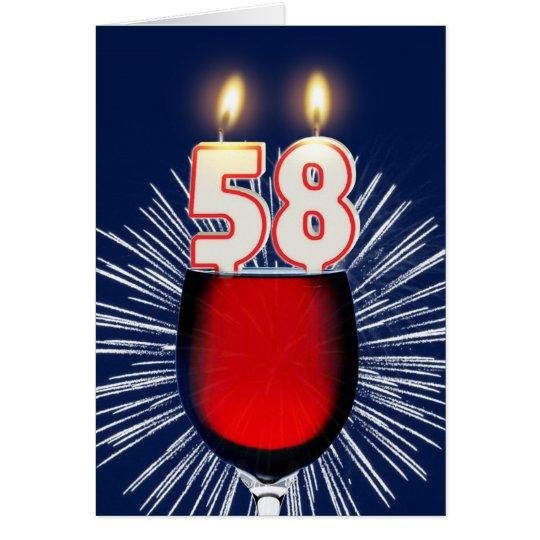 58.o Cumpleaños con el vino y las velas Tarjeta De Felicitación