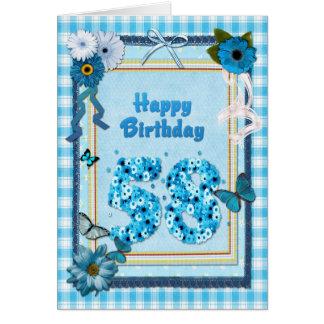 58.o Cumpleaños con un efecto del libro de Tarjeta De Felicitación