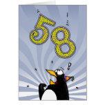 58.o cumpleaños - tarjeta de la sorpresa del pingü
