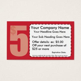 $5,00 De tarjeta de visita de la cupón