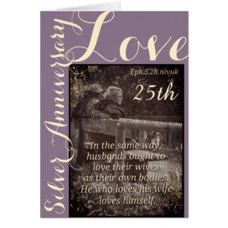 5:28 de Ephesians y 25ta tarjeta del aniversario