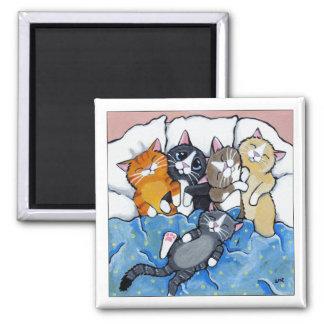 Imán 5 gatitos soñolientos - imán del arte del gato