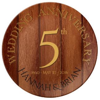 5ta placa de la porcelana del aniversario de boda plato de porcelana