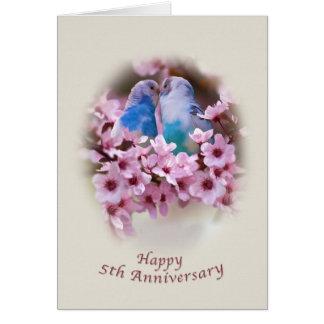 5ta tarjeta del aniversario de los Parakeets cariñ
