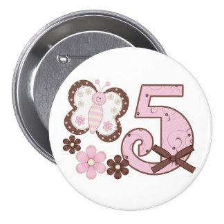5to botón del cumpleaños de la mariposa rosada