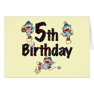 5to Cumpleaños del béisbol del mono del calcetín Tarjeta