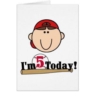 5to cumpleaños del béisbol trigueno del muchacho tarjetas