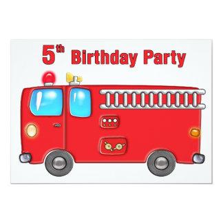 5to cumpleaños del coche de bomberos fabuloso invitación 12,7 x 17,8 cm