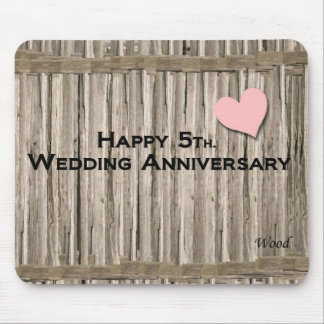 5to feliz. Aniversario de boda Alfombrilla De Raton