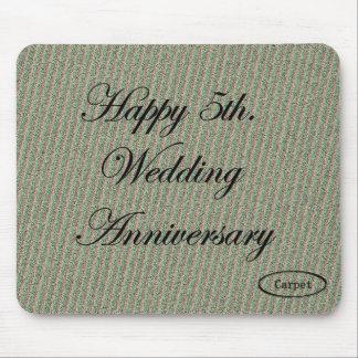 5to feliz Aniversario de boda Alfombrilla De Ratón