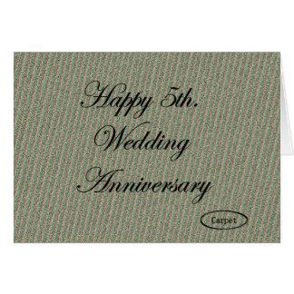 5to feliz Aniversario de boda Tarjetón