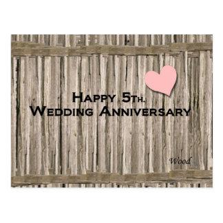5to feliz Aniversario de boda Tarjetas Postales