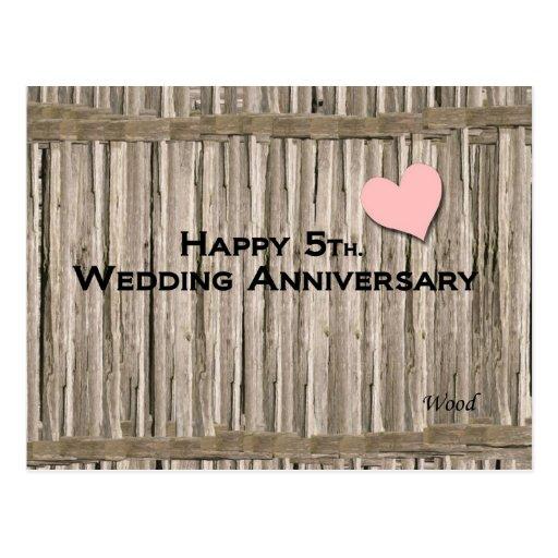 5to feliz. Aniversario de boda Tarjetas Postales