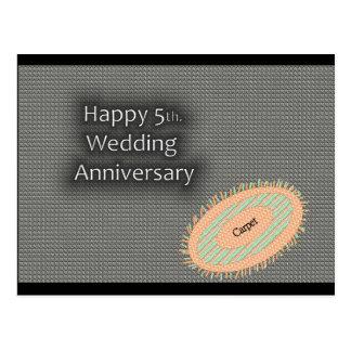 5to feliz Aniversario de boda Tarjeta Postal