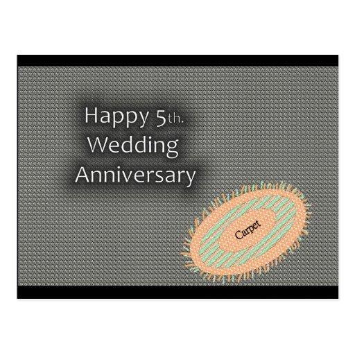 5to feliz. Aniversario de boda Tarjeta Postal