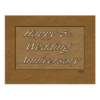 5to feliz. Madera del aniversario de boda Postal