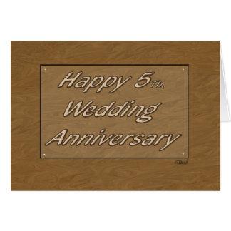 5to feliz. Madera del aniversario de boda Tarjetas