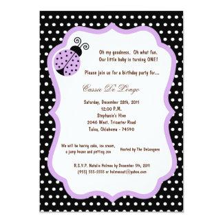 5x7 la fiesta de cumpleaños negra de la señora Bug Invitación 12,7 X 17,8 Cm
