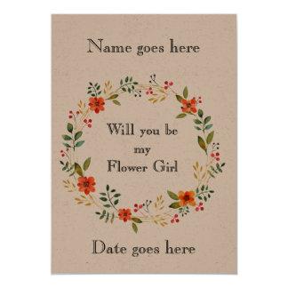 5x7 rústico usted será mi invitación del florista