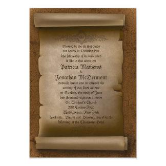 """5x 7"""" vieja invitación gótica de papel del boda"""