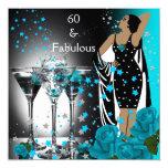 60 60.os rosas fabulosos Martini del trullo del Invitación 13,3 Cm X 13,3cm