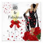 60 60.os rosas rojos fabulosos de la fiesta de invitación 13,3 cm x 13,3cm