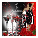 60 60.os rosas rojos fabulosos Martini de la Invitación 13,3 Cm X 13,3cm