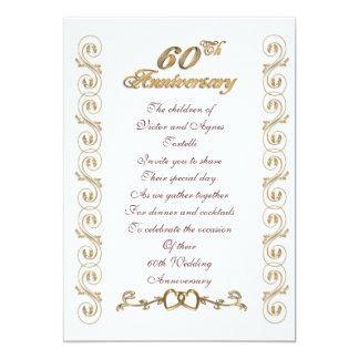 60.a fiesta de aniversario para los padres invitación 12,7 x 17,8 cm