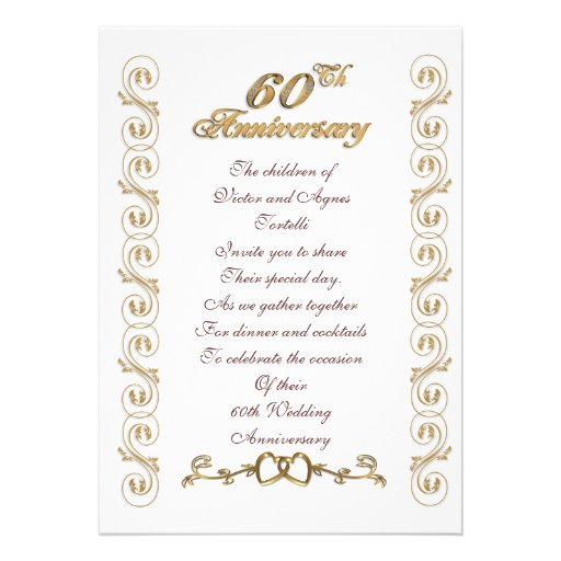 60.a fiesta de aniversario para los padres invitación personalizada