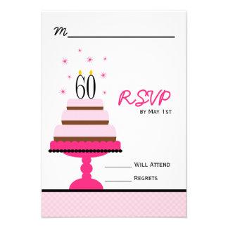 60 a fiesta de cumpleaños de la torta con gradas r comunicados personalizados