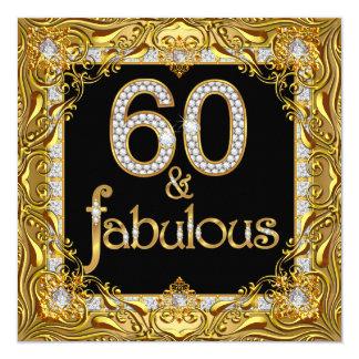 60.a fiesta de cumpleaños del oro 60 del negro invitación 13,3 cm x 13,3cm
