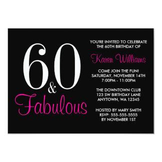 60.a fiesta de cumpleaños rosada negra fabulosa invitación 11,4 x 15,8 cm