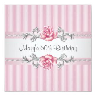 60.a fiesta del cumpleaños de la mujer color de invitación 13,3 cm x 13,3cm