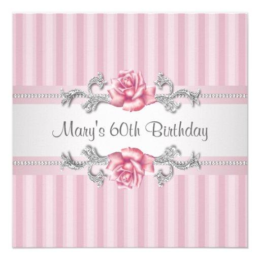 60.a fiesta del cumpleaños de la mujer color de ro invitacion personalizada