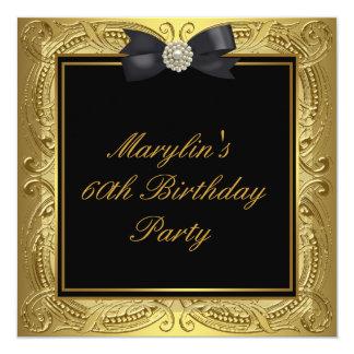 60.a fiesta del cumpleaños de la mujer negra del invitación 13,3 cm x 13,3cm