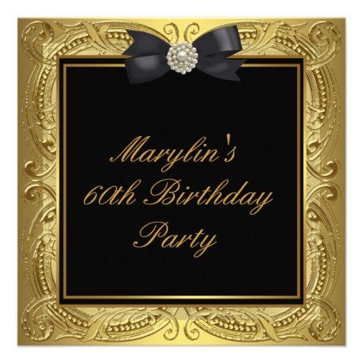 60.a fiesta del cumpleaños de la mujer negra del o invitacion personalizada