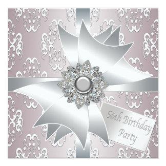 60.a fiesta del cumpleaños del diamante de la invitación 13,3 cm x 13,3cm