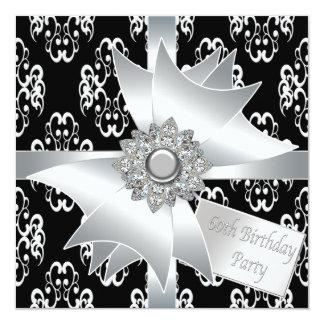 60.a fiesta del cumpleaños del diamante de la invitacion personalizada