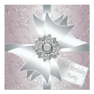 60.a fiesta del cumpleaños del diamante de la invitación personalizada