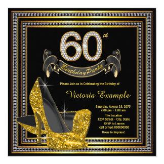 60.a fiesta del cumpleaños del oro de la mujer invitación 13,3 cm x 13,3cm