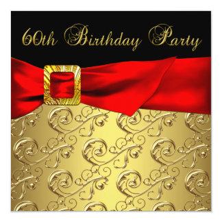 60.a fiesta del cumpleaños del oro del negro de la invitación 13,3 cm x 13,3cm