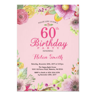 60.a invitación floral del cumpleaños para el rosa