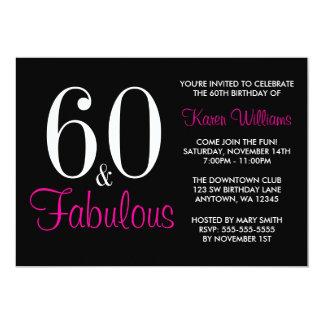 60.a invitación rosada negra fabulosa de la fiesta invitación 12,7 x 17,8 cm