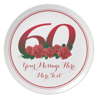 60.a placa del aniversario 60 del cumpleaños del plato