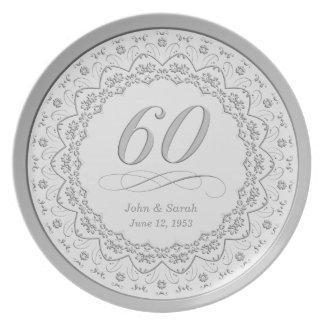 60.a placa personalizada del aniversario plato