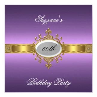 60.a púrpura de la invitación de la fiesta de