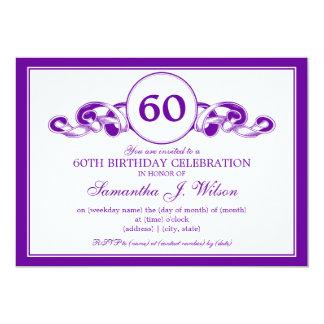 60.a púrpura elegante de la cinta de Swirly del Invitación 12,7 X 17,8 Cm